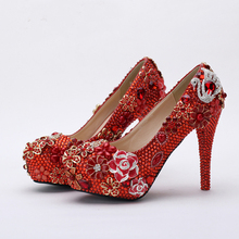 2016 Gorgeous Wedding Party Prom Shoes Red Rhinestone Bridal Shoes  Crystal Evening Nightclub Pumps Mother of the Bride Shoes