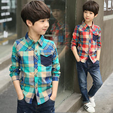 New Arrival Long Sleeve Boy's Shirts Casual Turn-down Collar Boy Big Plaid Shirt For Children Kids Spring Clothes High Quality girls plaid blouse 2019 spring autumn turn down collar teenager shirts cotton shirts casual clothes child kids long sleeve 4 13t