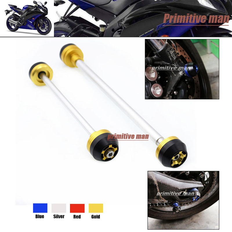 ФОТО For YAMAHA YZF R6 YZFR6 YZF-R6 2006-2007 Motorcycle Front & Rear Axle Fork Crash Sliders Wheel Protector Gold
