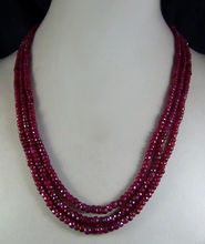 wholesale good 2x4mm NATURAL RED FACETED BEADS NECKLACE 3 STRAND silver-jewelry