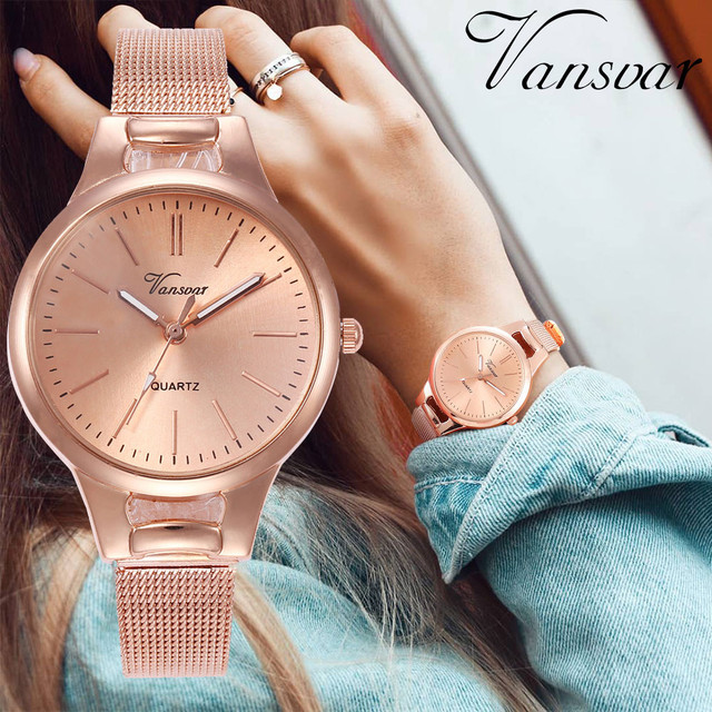 2018 Women Stainless Steel Lady Bracelet Watch vansvar Brand Elegant Dial Quartz