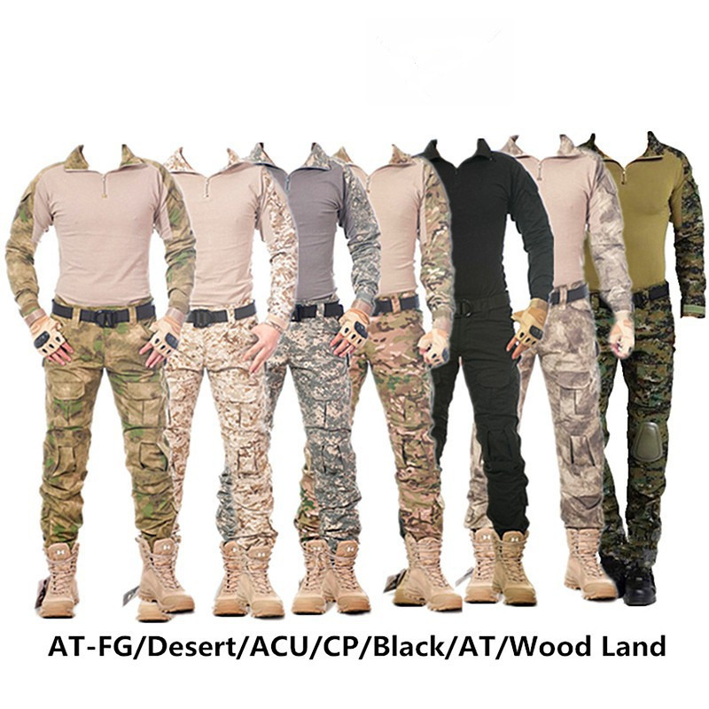 Camouflage tactical military clothing paintball army cargo pants combat trousers tactical pants with knee pads real 100