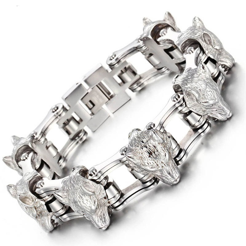 New fashion titanium bracelet stainless steel bracelet domineering wolf head men bicycle chain помада maybelline new york maybelline new york ma010lwjlc31
