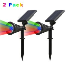 2PACK Solar Powered Spotlight 2-in-1 Adjustable 4 LED In-Ground Light Waterproof Landscape Wall Light for Outdoor Garden Lawn