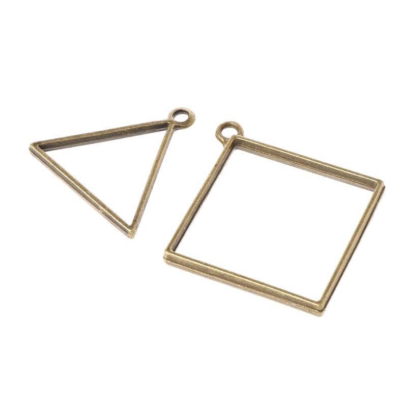 14 Pcs DIY Metal Frame Set Epoxy Resin UV Crystal Silicone Molds Pendant Making