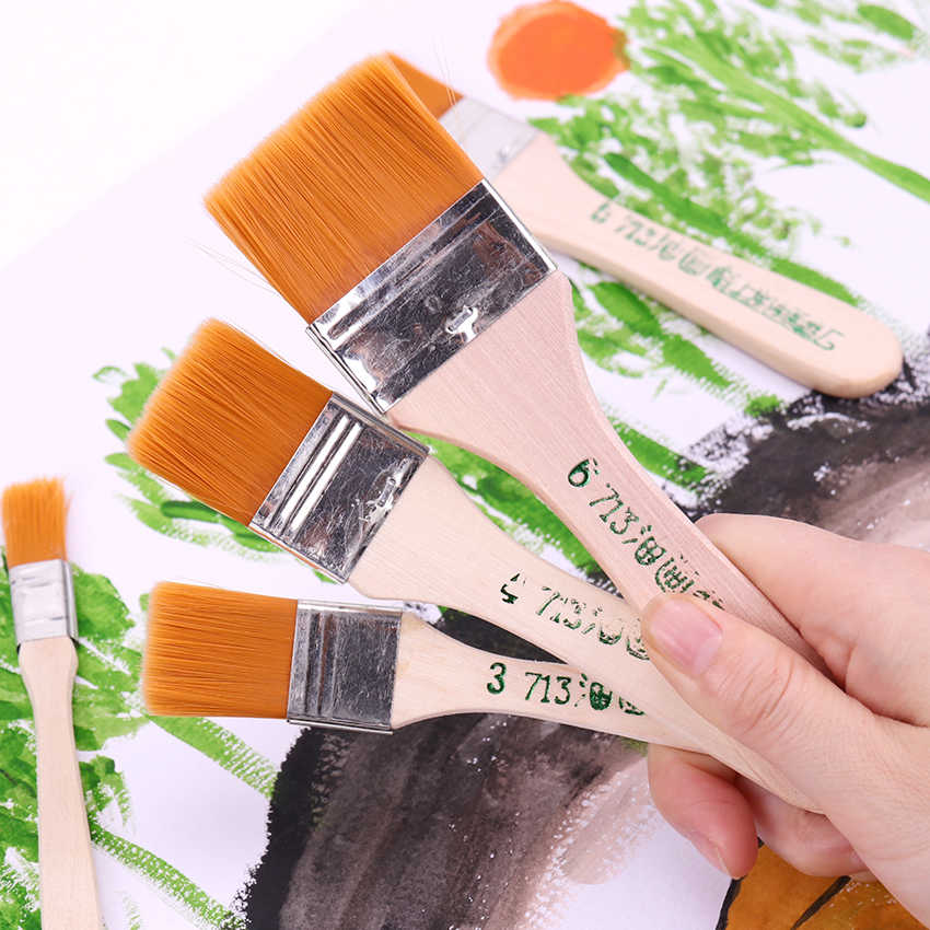 1-6 # estilos pinceles de pintura al óleo de madera pincel de pintura de acuarela de artista juego de pinceles de pintura de pelo de nailon de diferentes tamaños suministros de arte
