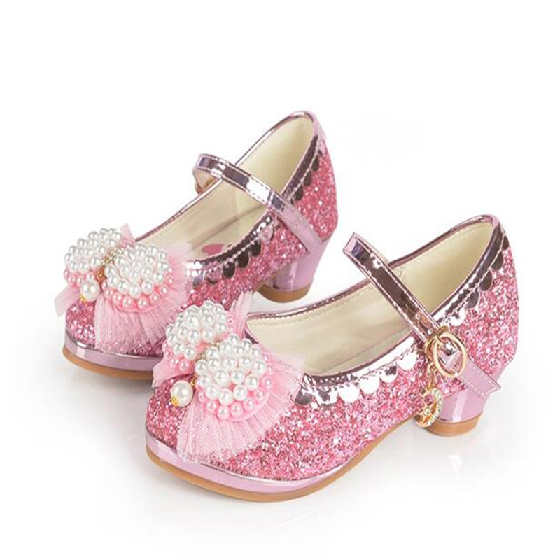 Four Seasons Children Leather Shoes Female Student Princess Shoes Sequins Girls High Heels Performance Dance Pearl Flower shoes