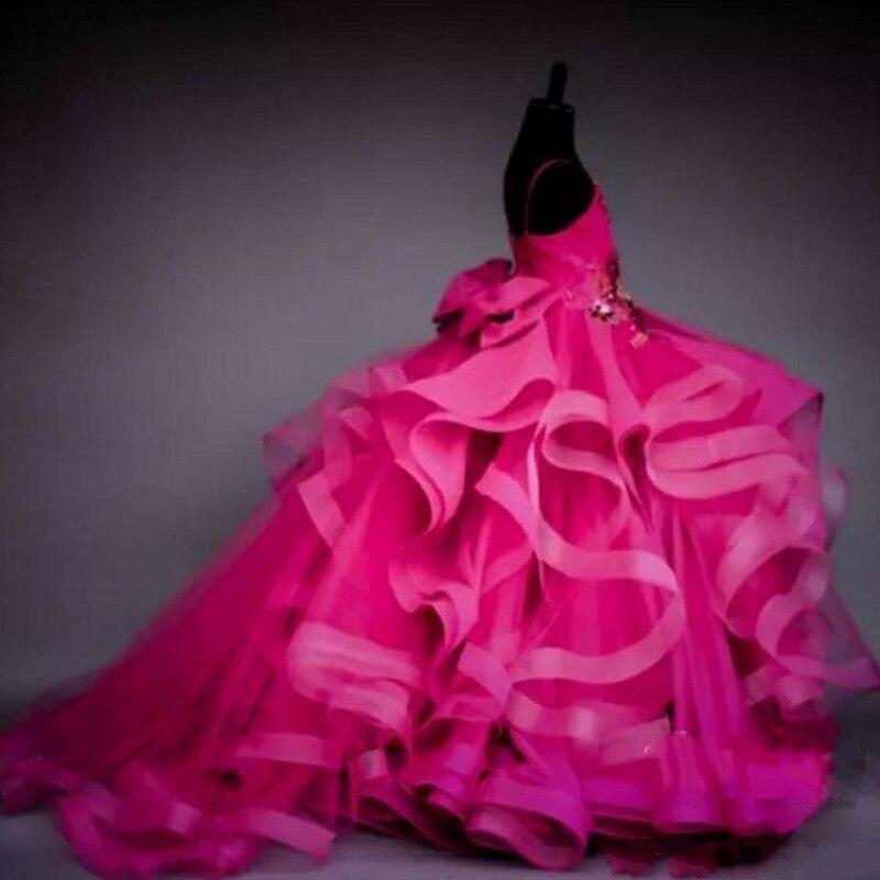 First Communion   Dresses   For   Girls   Fuchsia Long   Flower     Girl     Dress   Elegant Spaghetti robe mariage fille 2019 primera comunion