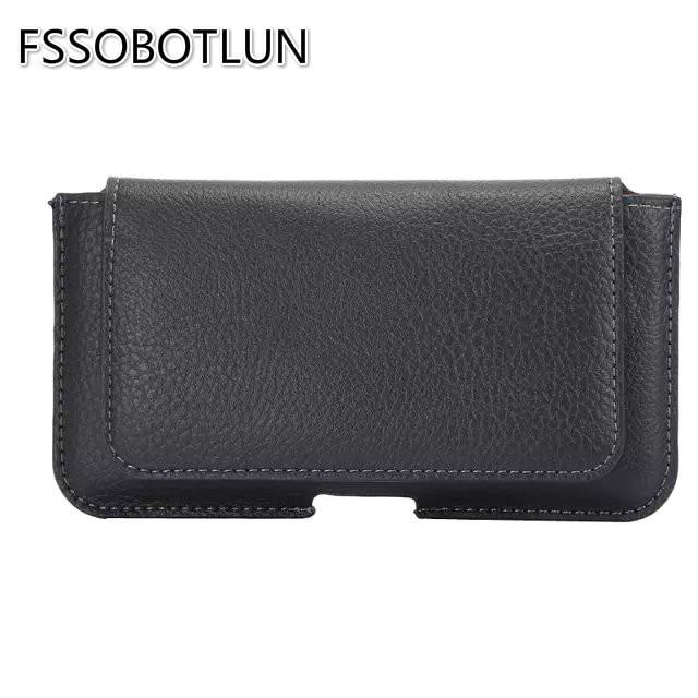 FSSOBOTLUN,5.5-6.0 inch Universal Litchi Pattern PU Leather Flip Belt Waist Pouch Case For Nokia 7 PlusFor Nokia 6 (2017)