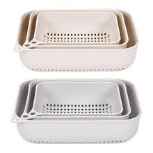 3pcs/set Kitchen Vegetable Fruit Washing Basket Strainer Drain Drying Holder Household Tools
