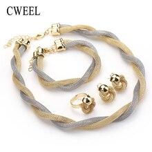 CWEEL набор украшений для женщин Африканский бисер ювелирный набор свадебный твист плетение колье Свадебный Дубайский и эфиопский ювелирный набор
