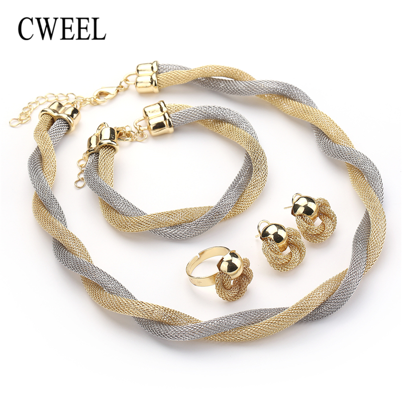 CWEEL Jewelry Set For Women African Beads Jewelry Set Wedding Twist Weave Choker Necklace Bridal Dubai Ethiopian Jewellery Sets