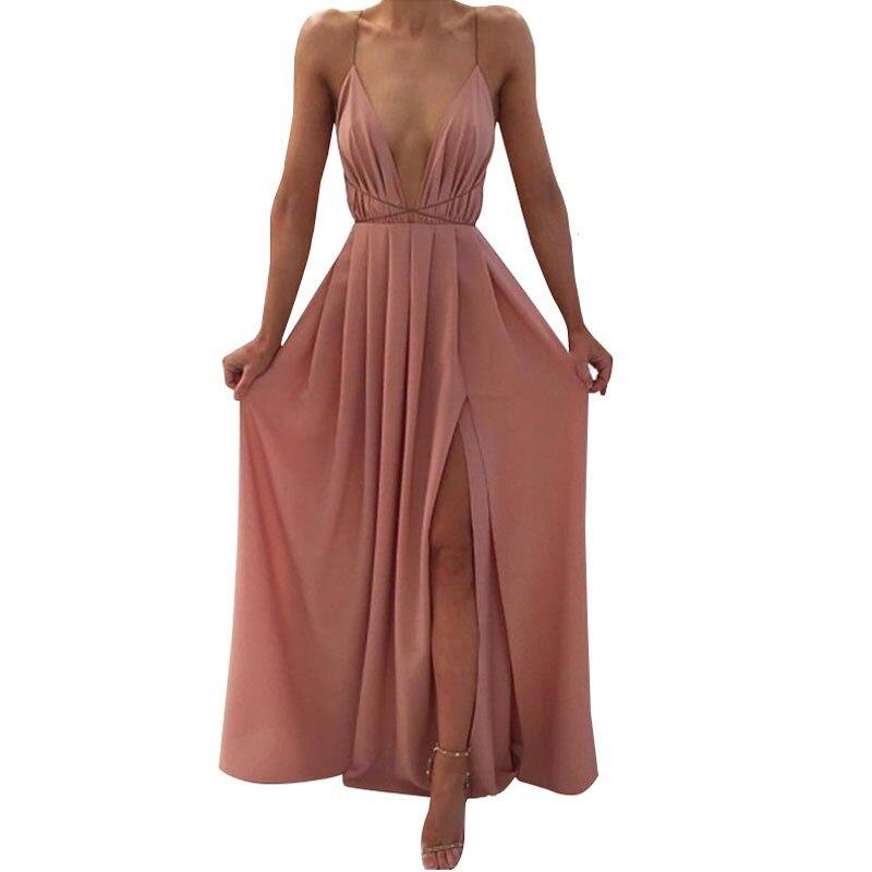 2019 Female Summer Deep V Neck Sleeveless Long Dress Elegant Halter High Waist Split Party Dress Boho Beach Vestido Maxi Dress in Dresses from Women 39 s Clothing