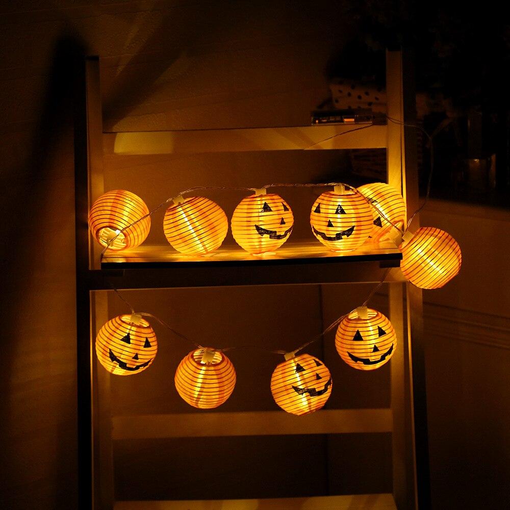 10 светодиодов Хэллоуин тыква строка огни оранжевый Бумага праздник Фея Фонари свет украшение дома открытый Освещение 1.2 м