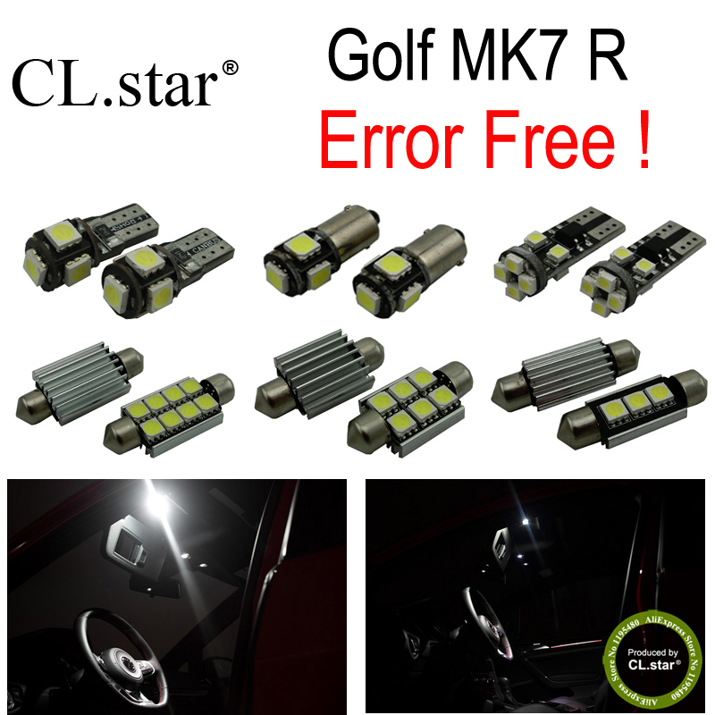 13pc X decoder canbus error free for Volkswagen VW Golf 7R MK7 R MKVII LED lamp Interior Light  Kit Package (2014+) canbus error free for volkswagen vw golf 6 mk6 gti led interior light kit package 2010 car stying 8pcs