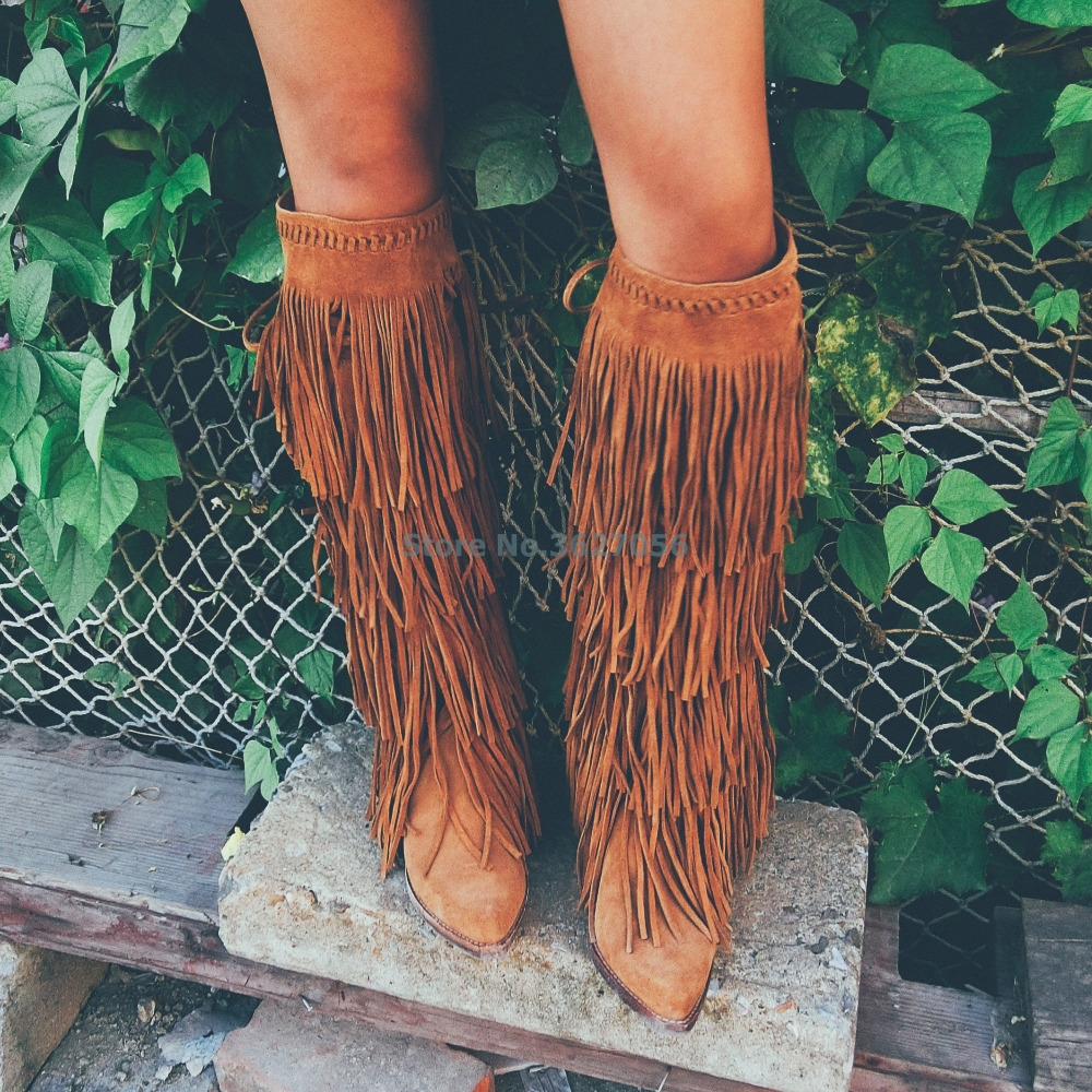 Hot-Sale-Knee-High-Boots-Women-Brown-Pink-Suede-Fringe-Boots-Chunky-Heels-Shoes-Woman-Pointed