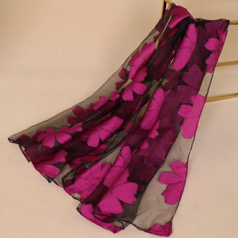 Organza Semi-transparent Lady Floral   Scarf   Womens Summer Breeze Lightweight Sheer   Wrap   Organza Gauze   Scarf   Shawls and   Wraps