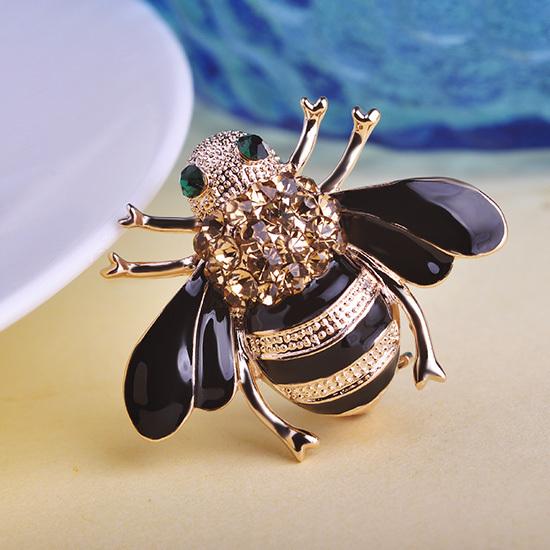 Gold Plated Rhinestone Enamel Bee Brooch Pin