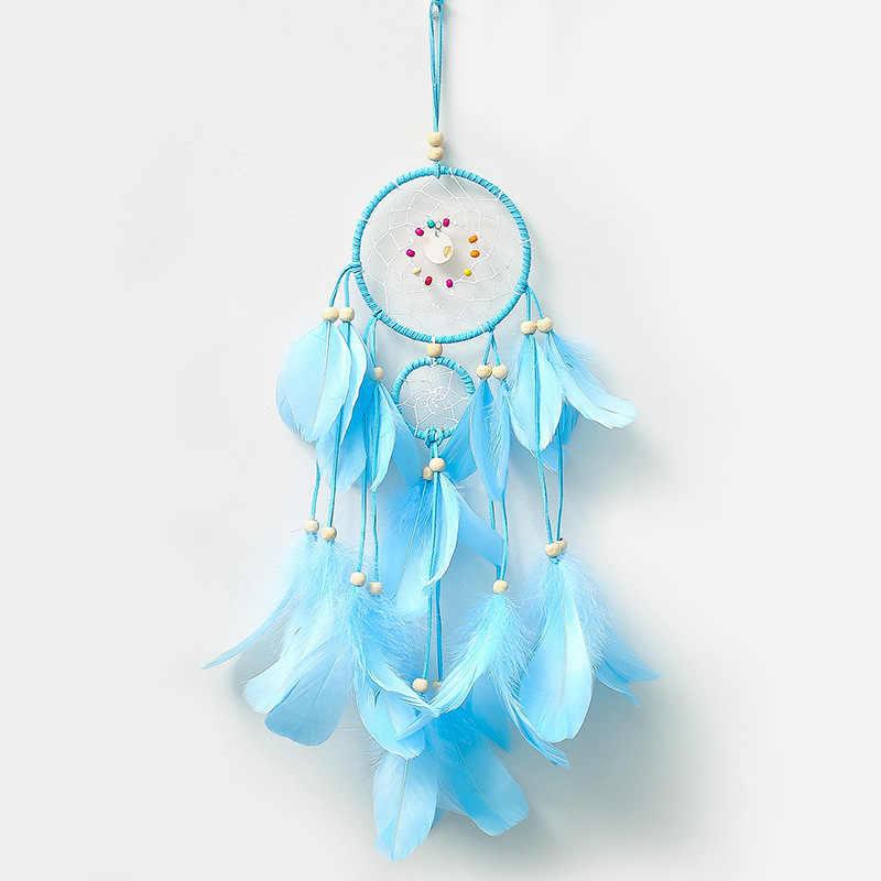 2018 Creative วินาทีแหวน Wind Chime แขวน Feather Dream Catcher ห้องนอนห้องนั่งเล่นผนัง Handmade ตกแต่งจี้ - 60242