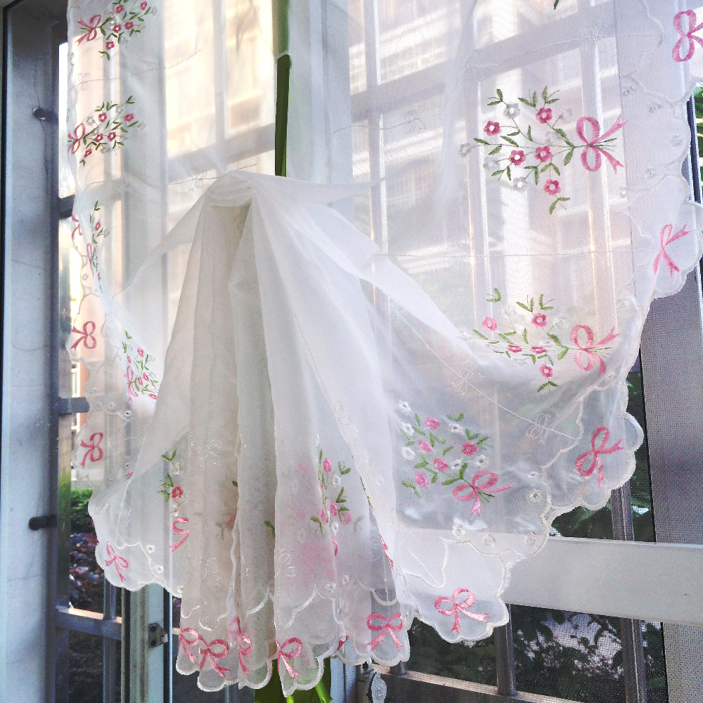 Terri wong balloon curtain tulle embroidered flower bowknot pattern curtains for kitchen bedroom for Balloon curtains for living room