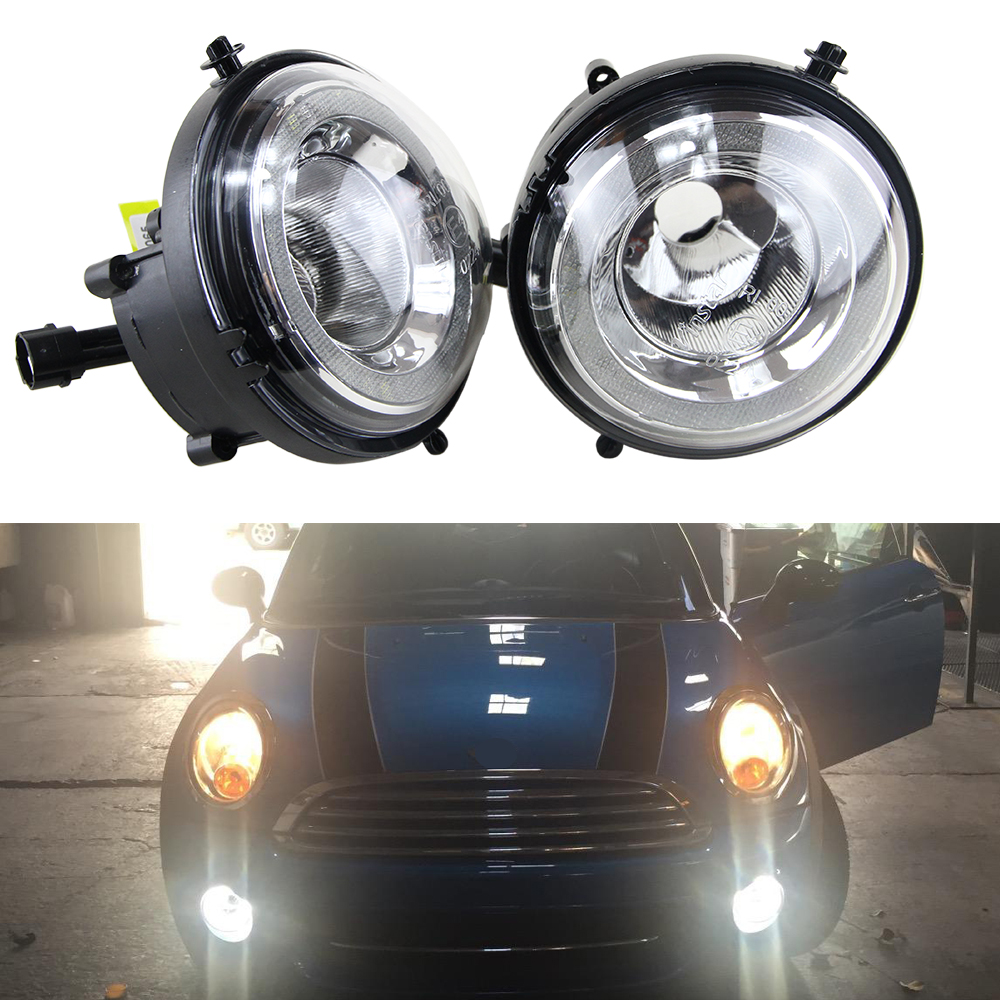1 set FOR Mini Cooper DRL LED Daytime Running Lights Refit car fog lamp OEM styling R55 R56 R57 R58 R59 R60 R61 Halo angel eyes new led daytime running lights drl with halo ring angel eyes for mini cooper rally driving lights front bumper 6000k 1900lm auto
