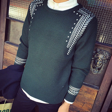 Korean Autumn Pullover Sweater Men 2016 Personality Embroidery Men Sweaters Knitwear Round Neck Casual sueter hombre Design