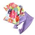 Marca 24 m-4 t niñas coloridos conjuntos de ropa 2017 verano vintage flores imprimir niñas bebés ropa de los niños ocasionales ropa para niñas