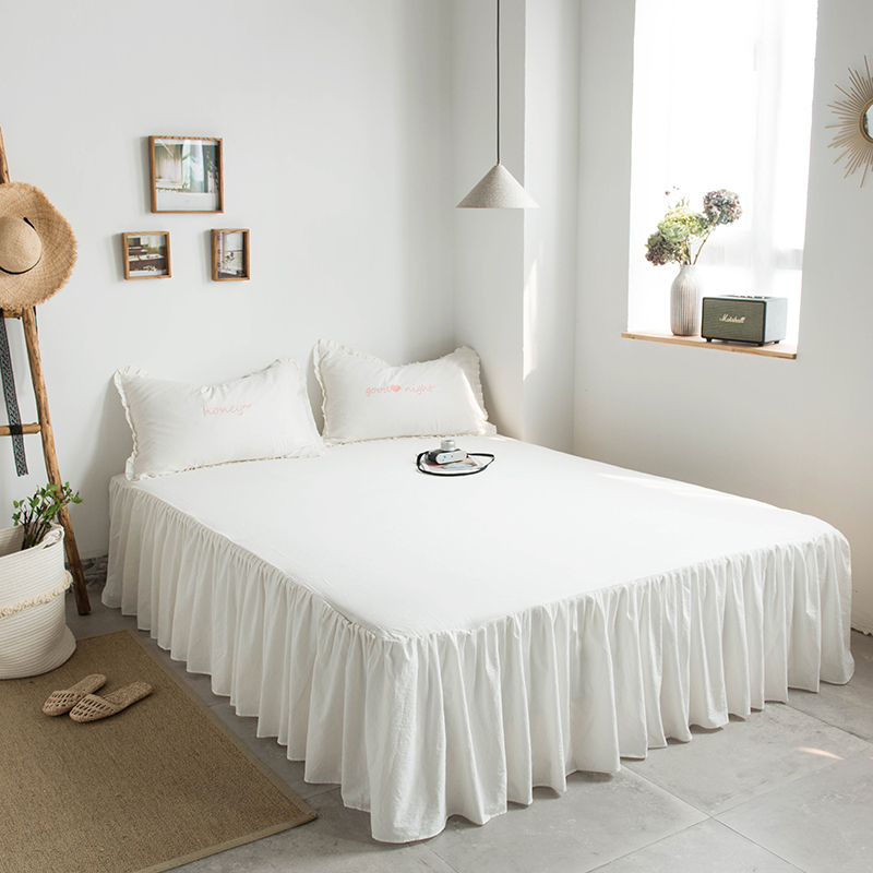 Soft Washed Cotton Twin Queen Size Kids Rubber Bed Sheet Set Shabby White Grey Ruffled Bedskirt Pillowcase Natural Wrinkled