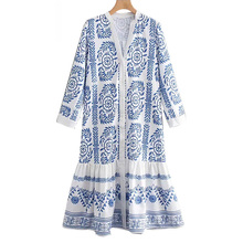 Women Dress Long Slim Bohemia Loose Beach Clothing Casual Summer Sexy Print  Floral Vintage Female Dresses Clothes