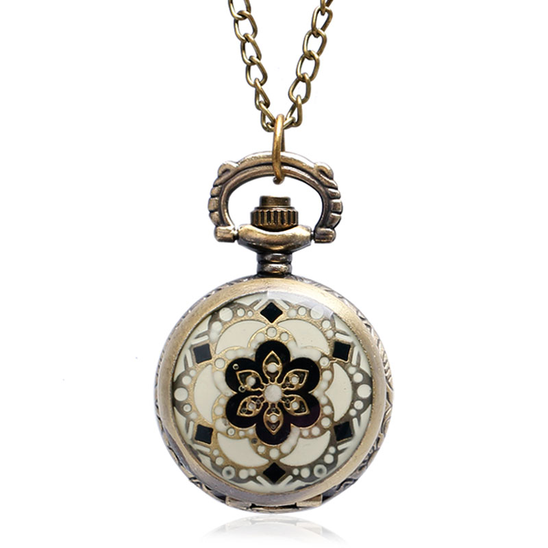 Retro New Small Flower Retro Quartz Pocket Watch For Women Ladies With Necklace Chain Free Drop Shipping Accessory Clock