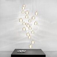 Modern Crystal Chandelier Lighting LED Pendant Hanging Light Orb Crystal Ball Chandeliers Stair Cristal Chandelier Home Lighting