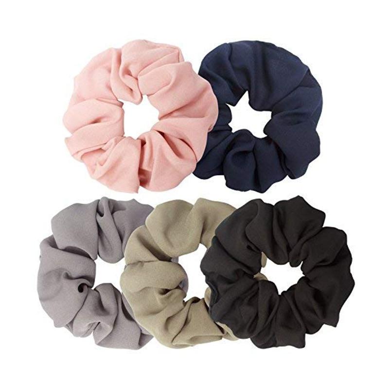 Ondder 5 Pack Large Chiffon Hair Scrunchies For Hair Chiffon Ponytail Holder Bobbles Elastic Colorful Scrunchy Hair Bands