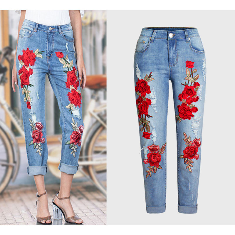 2017 Vogue Jeans Women Stretch Loose Denim Pants Floral 3D Embroidery Bleach Ripped Pants Female Elastic Denim Jeans Pants