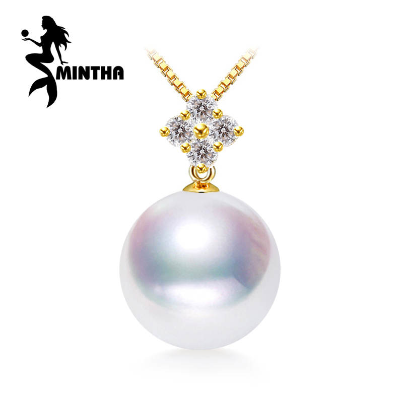 MINTHA 18K Yellow Gold peandant pearl Jewelry antlers necklaces & pendant for lovers pearl pendants send s925 silver necklacesMINTHA 18K Yellow Gold peandant pearl Jewelry antlers necklaces & pendant for lovers pearl pendants send s925 silver necklaces