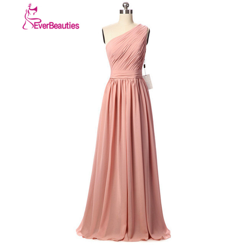 Vestido Longo Rosa Long   Bridesmaid     Dresses   One Shoulder A Line Pleated Chiffon   Dresses   Wedding Party   Dress   2019 New