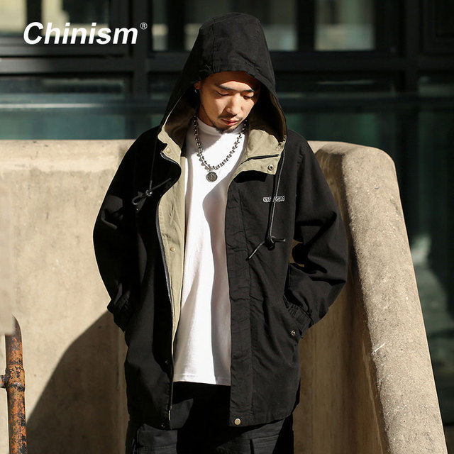 CHINISM 2018 Spring New Vintage Brand Embroidery Hoodie Jackets Mens Sleeve Hook&Loop Trench Jacket Men's Streetwear