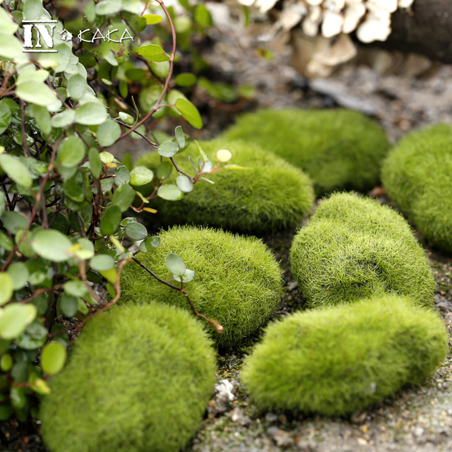 Zakka Micro Landscape Fairy Garden Miniature Decoration Ornament Artificial  Fake Moss Lawn Mossy Stone Model Toy