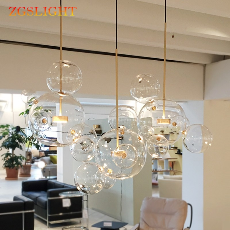 Modern Clear glass ball living room chandeliers art deco bubble lamp shades chandeliers indoor lighting restaurant iluminacao