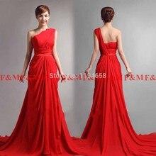 2016 heißer Verkauf Lastest Entwurf Elegantes Schulter Roten Chiffon Gericht Zug Langen Abendkleid Formale Abendkleider F & M1186