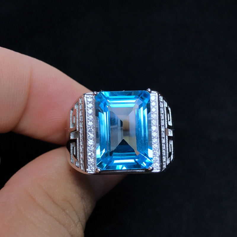Natural Topaz Men's Ring, 925 Silver, Exquisite Craftsmanship, 8carat Gems, Beautiful Colors