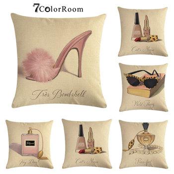 Perfume elegante señora cojín Cove zapatos de tacón alto elegante señora funda de almohada de algodón Lino lápiz labial funda de almohada 45x45 cm