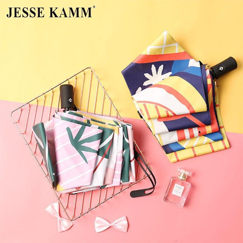 JESSE KAMM entièrement automatique parapluie fille coeur ins pluie-temps vinyle sunumbrella pliant parasol pare-soleil protection uv