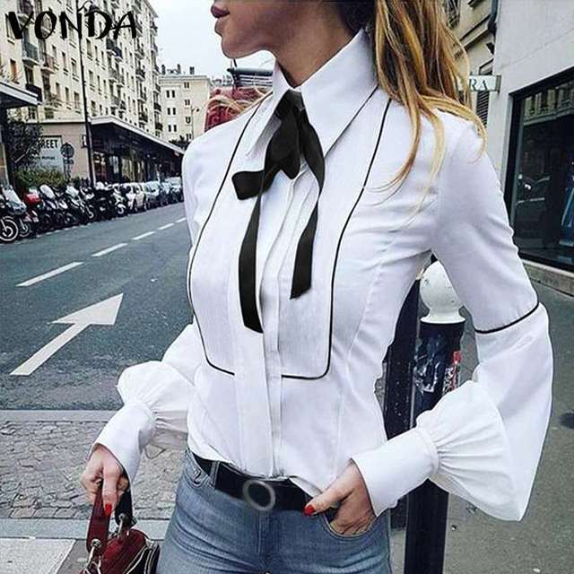VONDA Ladies Office Shirt 2019 Autumn Blouse Women Sexy Lantern Sleeve Turn-down Collar Shirt Casual Tops Plus Size Blusas S-5XL 5