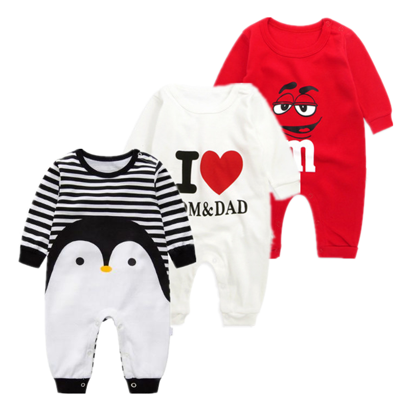 2020 Baby Autumn Spring Cotton Cartoon Penguin Style Boy Clothes Newborn Baby Girl Clothing Infant  Jumpsuit For Baby Clothes