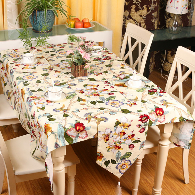 Superbe Creative Countryside Style Bamboo Cotton Table Runner Cloth 32x200cm Flower  And Bird Print Table Runner Wedding