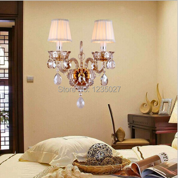 New modern fashion wall lamps crystal wall light bed-lighting crystal E14 crystal Wall lamps Free Shipping free shipping crystal wall lamp gold modern bed lighting fashion wall mounted lamps e14 wall sconces