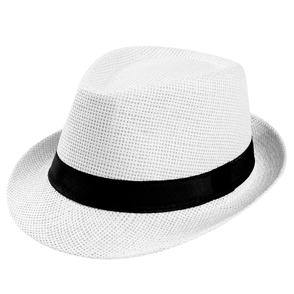 Unisex Trilby Gangster Cap Beach Sun Straw Hat Band Sunhat(China)
