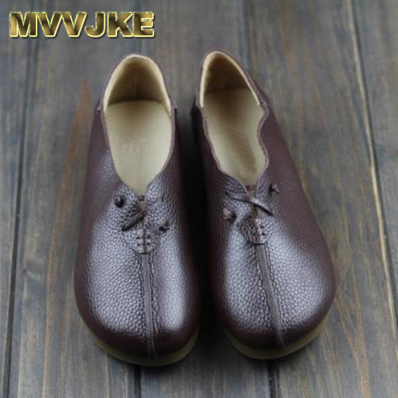 MVVJKE Women's Shoes Genuine Leather Ballet Flats Round toe Slip on Ballerina Flats 2017 Ladies Flat Shoes Female Footwear pinsen spring women genuine leather ballet flats casual shoes round toe slip on flats female loafers ballerina flats boat shoes