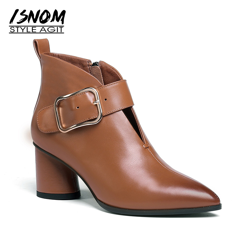 ISNOM Winter Genuine Leather Women Ankle Boots Pointed Toe Footwear Solid Female Boot Thick High Heels