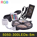 RGB LED Strip Light SMD5050 5m 60LED/m Flexible LED Stripe String Tape Ribbon Lamp IR Remote Controller Power Adapter DC12V 5A